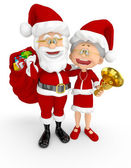 3D Santa and Mrs Claus — Stock Photo