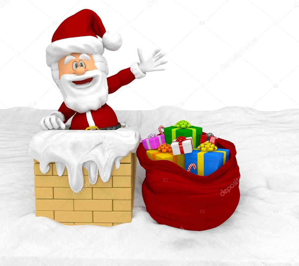 3D Santa entering a house through the chimney — Stock Photo #14942131