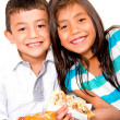 Royalty-Free Stock Photo: Children eating pizza