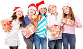 Children with Christmas presents — Stock Photo