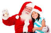Happy Santa with a girl — Stock Photo