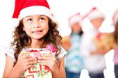 Thoughtful Christmas girl — Stock Photo
