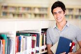 Zadowolony mężczyzna student szczęśliwy uczeń — Zdjęcie stockowe