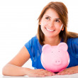 Stock Photo: Thoughtful womwith her savings