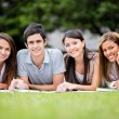 Group of students outdoors Group of students outdoors  — Stockfoto
