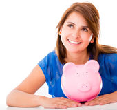 Thoughtful woman with her savings — Stock Photo