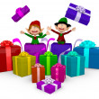 3D Elves with Christmas presents 3D Elves with Christmas presents — Stock Photo