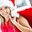 Happy female Santa Happy female Santa - Stock Photo