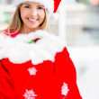 Female Santa with a gift sack Female Santa with a gift sack — Stock Photo