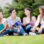 Happy group of students Happy group of students — Stock Photo