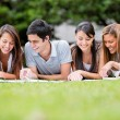 Group of students outdoors Group of students outdoors — Stock Photo #16083391