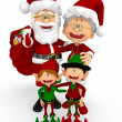 3D Santa family 3D Santa family - Stock Photo