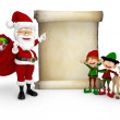 3D Santa with a Christmas list 3D Santa with a Christmas list — Stock Photo #16083477