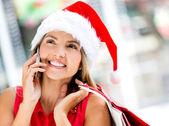 Female Santa on the phone Female Santa on the phone — Stock Photo