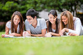 ομάδα φοιτητών υπαίθρια ομάδας φοιτητών σε εξωτερικούς χώρους — Φωτογραφία Αρχείου
