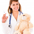 Pediatrician with a vaccine Pediatrician with a vaccine — Stock Photo #16318341