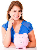 Woman with a piggybank Woman with a piggybank — Stock Photo