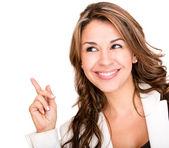 Mulher de negócios apontando uma mulher de negócios idéia apontando uma idéia — Foto Stock