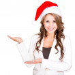 Businesswoman celebrating Christmas Businesswoman celebrating Christmas — Stock Photo
