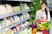Vrouw winkelen boodschappen vrouw winkelen boodschappen — Stockfoto