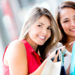 Happy shopping happy shopping flickor — Stockfoto