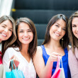Happy girls shopping Happy girls shopping — Stock Photo