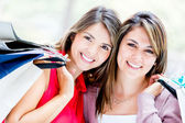 Beautiful female shoppers Beautiful female shoppers — Stock Photo