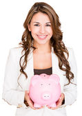 Businesswoman saving money Businesswoman saving money — Stock Photo