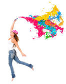 Happy female painter Happy female painter — Stock Photo