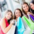 Happy girls shopping Happy girls shopping — Stock Photo