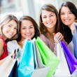 Happy group of shopping women Happy group of shopping women — Stock Photo #16963053