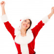 Happy female Santa with arms up Happy female Santa with arms up — Stock Photo #16963111