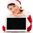 Thoughtful female Santa with laptop Thoughtful female Santa with laptop — Stock Photo