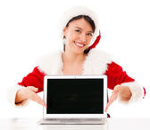 Mrs Claus with a laptop Mrs Claus with a laptop — Stock Photo
