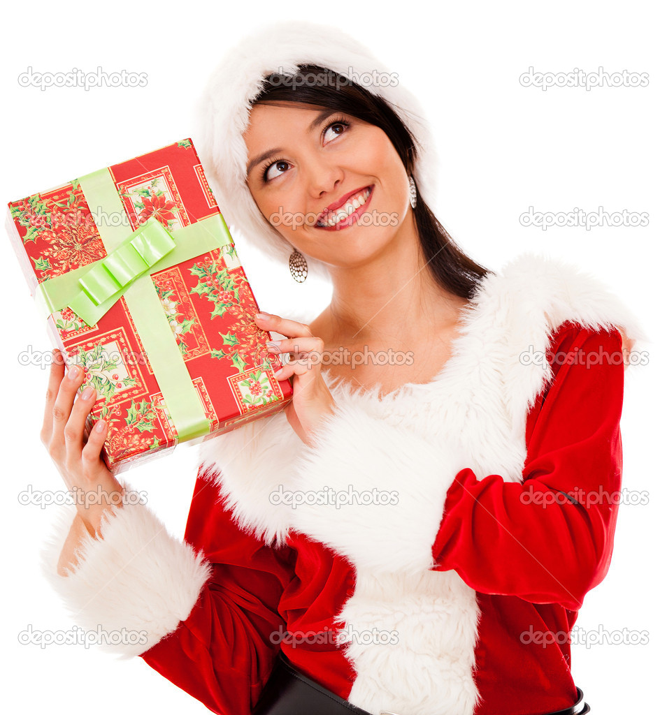Female Santa with a Christmas gift - isolated over a white background Female Santa with a Christmas gift - isolated over a white background  — Stock Photo #16963133