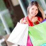 Happy female shopper Happy female shopper — Stock Photo