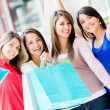 Happy group of shopping women Happy group of shopping women — Stock Photo