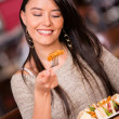 Woman having dinner Woman having dinner — Stock Photo