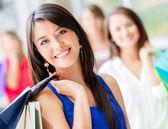 Zadowolony zakupy zadowolony zakupy kobieta — Zdjęcie stockowe