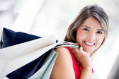 Happy female shopper Happy female shopper — Stock Photo