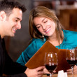 Romantic couple at a restaurant Romantic couple at a restaurant — Stock Photo
