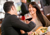Couple in a romantic dinner Couple in a romantic dinner — Stockfoto