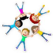 3D Kids on the floor 3D Kids on the floor — Stock Photo