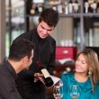 Couple trying wine at a restaurant — Stock Photo #19192615