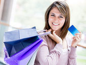 Shopping by credit card Shopping by credit card — Stock Photo