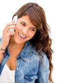 Mulher falando sobre a mulher de telefone falando ao telefone — Foto Stock