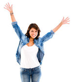 женщина с оружием женщина с руки вверх — Стоковое фото