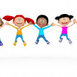 Royalty-Free Stock Photo: 3D kids jumping 3D kids jumping