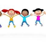 3D kids jumping 3D kids jumping — Stock Photo