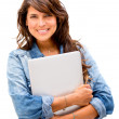 Woman holding a laptop Woman holding a laptop — Stock Photo